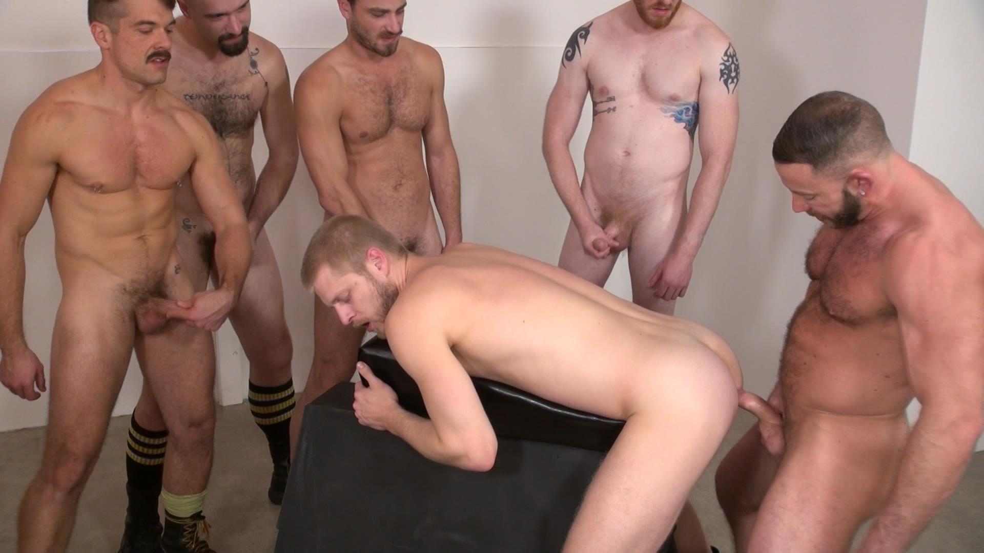 Raw-and-Rough-Bareback-Gay-Sex-Orgy-Amateur-Gay-Porn-05 Six Hairy Hung Guys Pounding A Bottom At A Bareback Sex Party