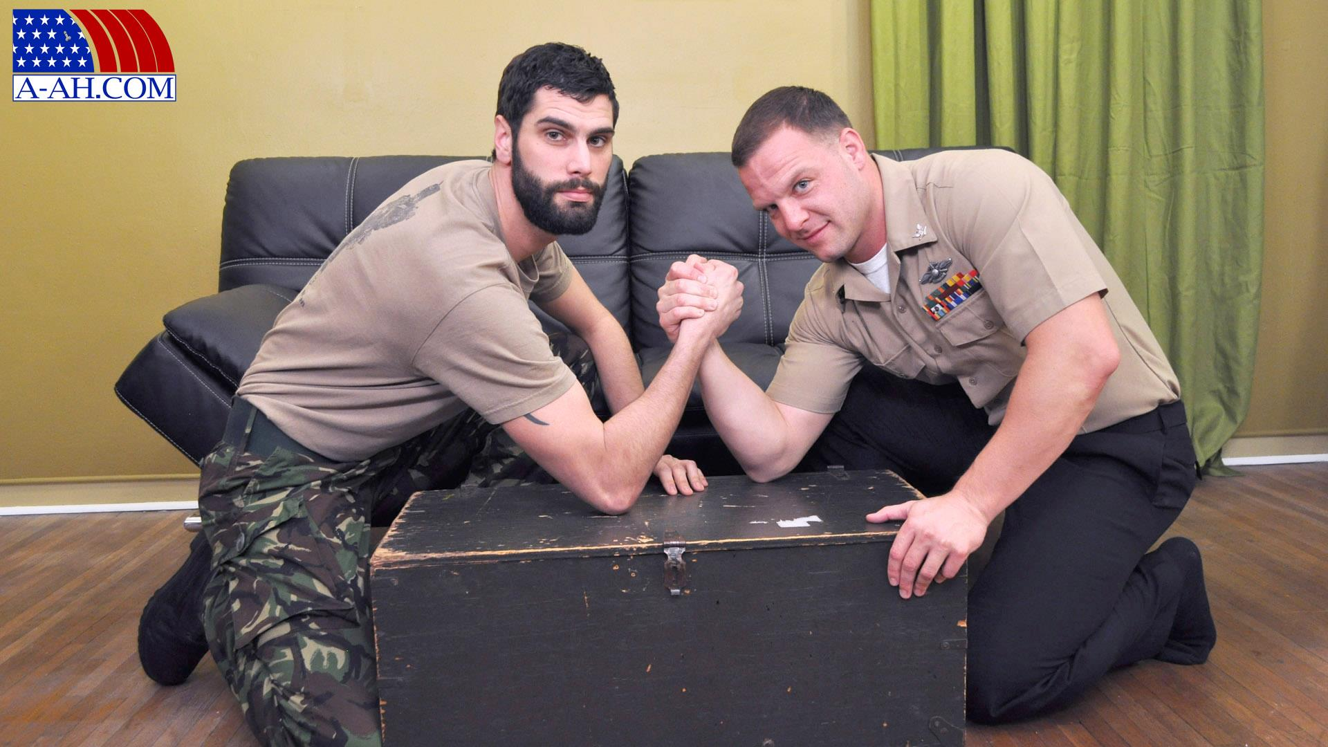All American Heroes PRIVATE ANTONIO AND NAVY CORPSMAN LOGAN Military Guys Sucking Cock Amateur Gay Porn 01 US Navy Corpsman Trades Blowjobs With A British Army Private