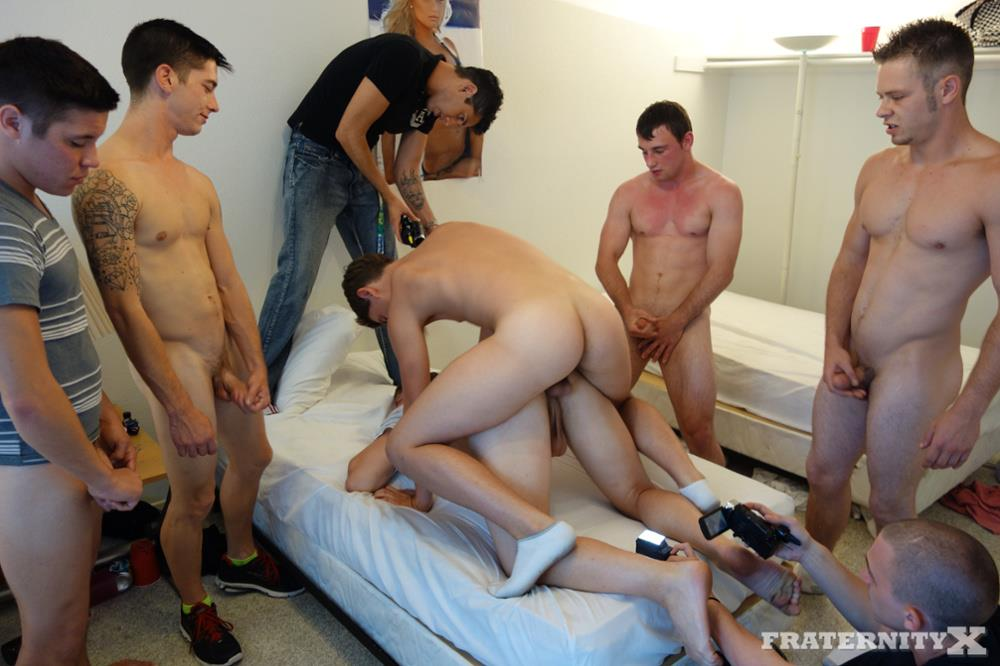 Fraternity X 5 Frat Guys Barebacking A Tight Ass Breeding BBBH Amateur Gay Porn 16 Fraternity Jock Takes Five Bareback Loads Up The Ass
