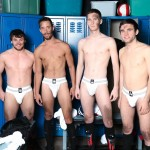 Circle Jerk Boys Andrew Collins and Isaac Hardy and Josh Pierce and Scott Harbor Soccer Guys Sucking Cock Amateur Gay Porn 01 150x150 After the Game, Soccer Plays Sucking Cock In The Locker Room