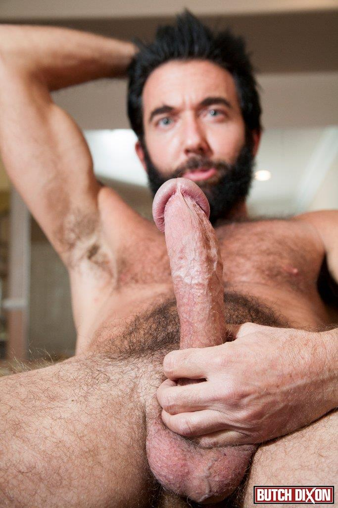Butch-Dixon-Tom-Nero-Hairy-Daddy-Jerking-Off-A-Big-Fat-Mushroom-Head-Cock-Amateur-Gay-Porn-10 Hairy Stud Tom Nero Jerking His Thick Mushroom Head Cock