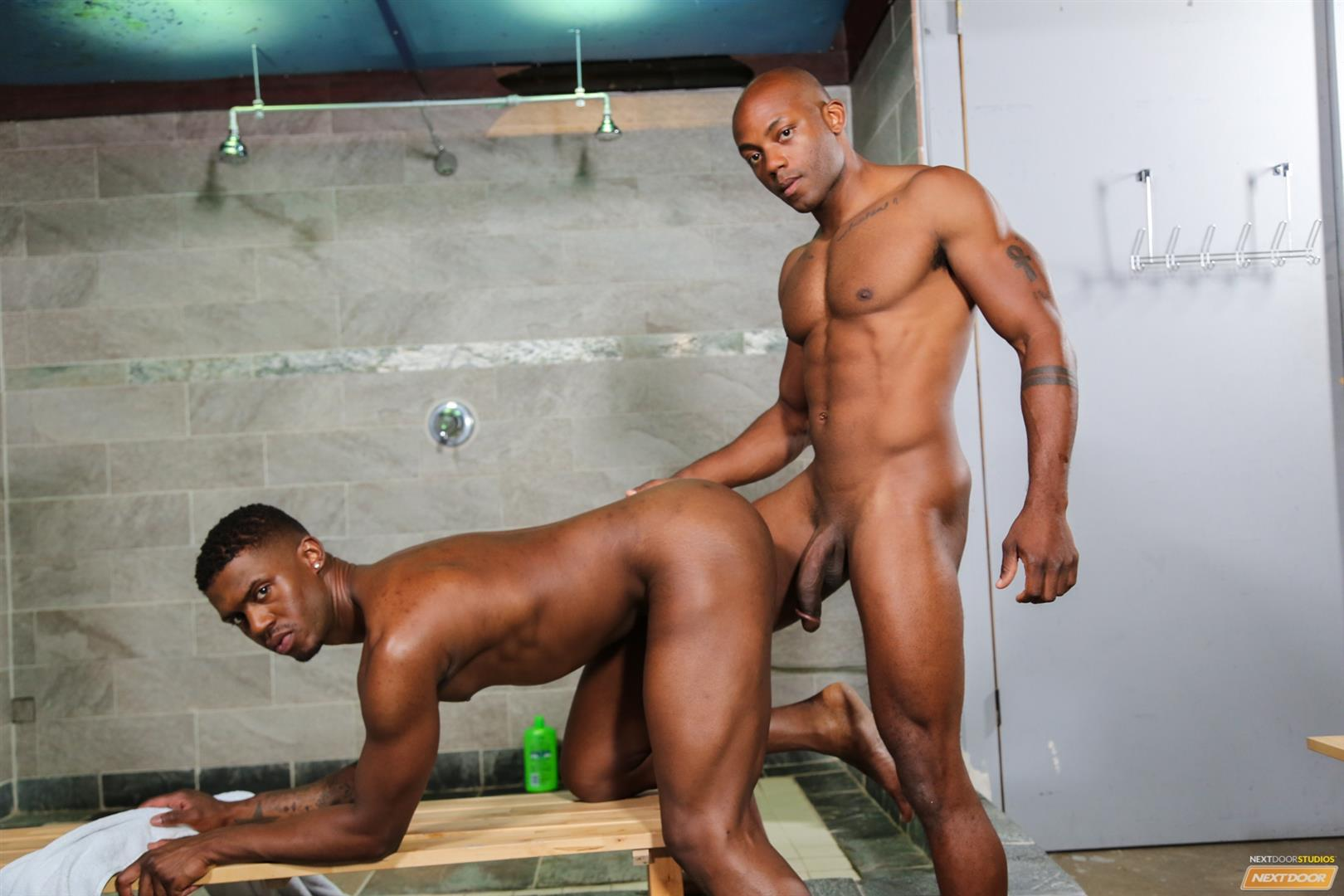 Next-Door-Ebony-Krave-Moore-and-Osiris-Blade-Big-Black-Cocks-Dicks-Fucking-Amateur-Gay-Porn-12 Muscular Black Guys Take Turns Fucking Each Other In The Locker Room