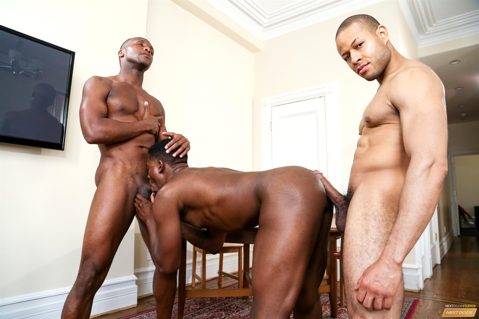 Next Door Ebony Krave Moore and Andre Donovan and Rex Cobra Big Black Cock Amateur Gay Porn 12 Three Black Guys Playing Strip Dominoes With Their Big Black Cocks