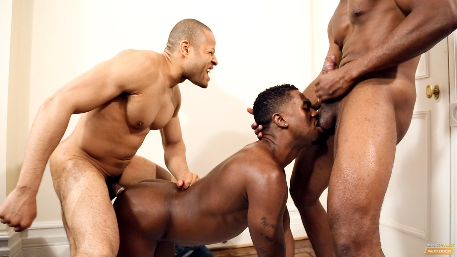 Next Door Ebony Krave Moore and Andre Donovan and Rex Cobra Big Black Cock Amateur Gay Porn 15 Three Black Guys Playing Strip Dominoes With Their Big Black Cocks