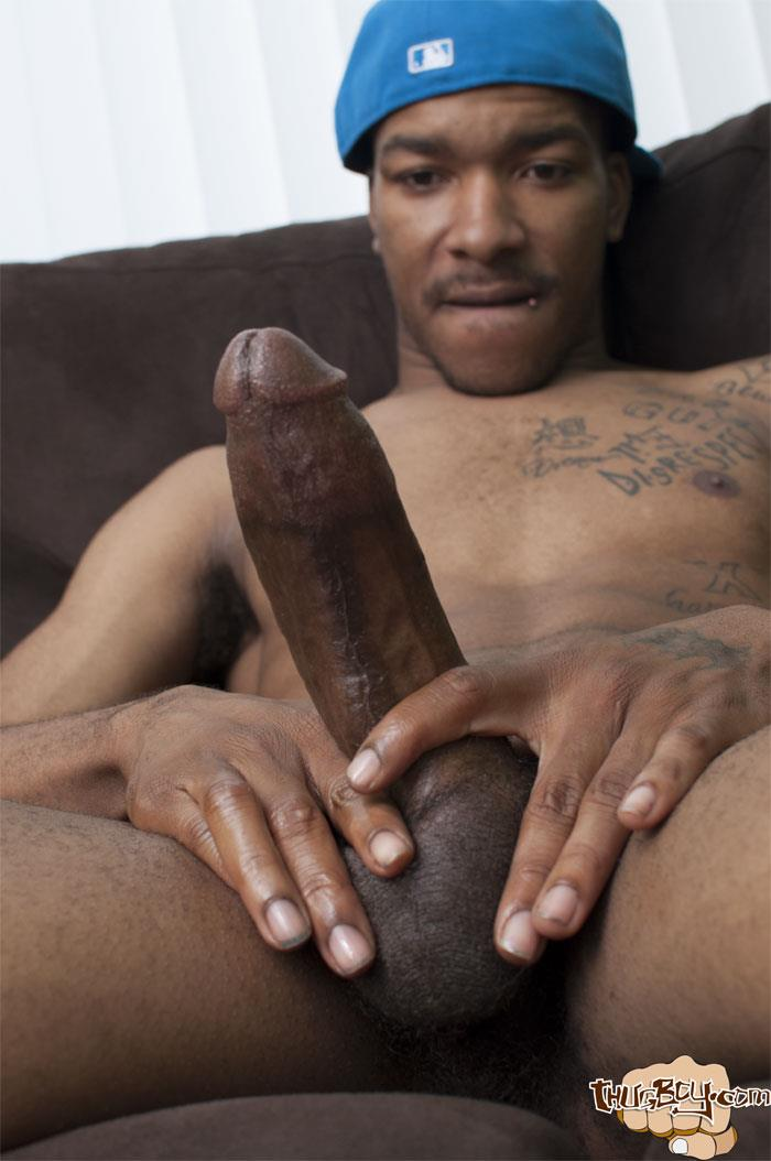 Thug-Boys-Black-Noir-Big-Black-Cock-Jerk-Off-Video-Amateur-Gay-Porn-20 Straight LA Thug Black Noir Jerking His Big Black Cock