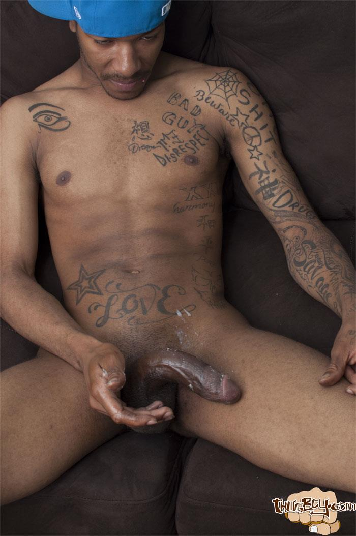 Thug-Boys-Black-Noir-Big-Black-Cock-Jerk-Off-Video-Amateur-Gay-Porn-43 Straight LA Thug Black Noir Jerking His Big Black Cock