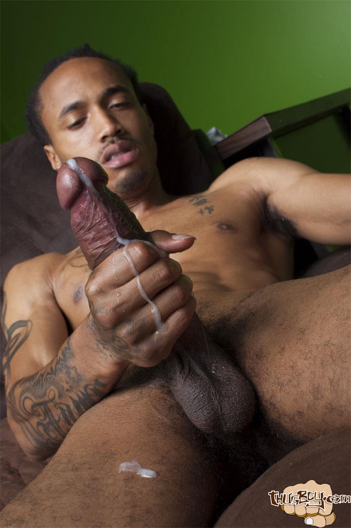 Thug-Boy-Cali-Bandz-Big-Black-Uncut-Cock-Jerk-Off-Amateur-Gay-Porn-61 Thug Boy:  Straight Ghetto Thug Strokes His Big Black Uncut Cock