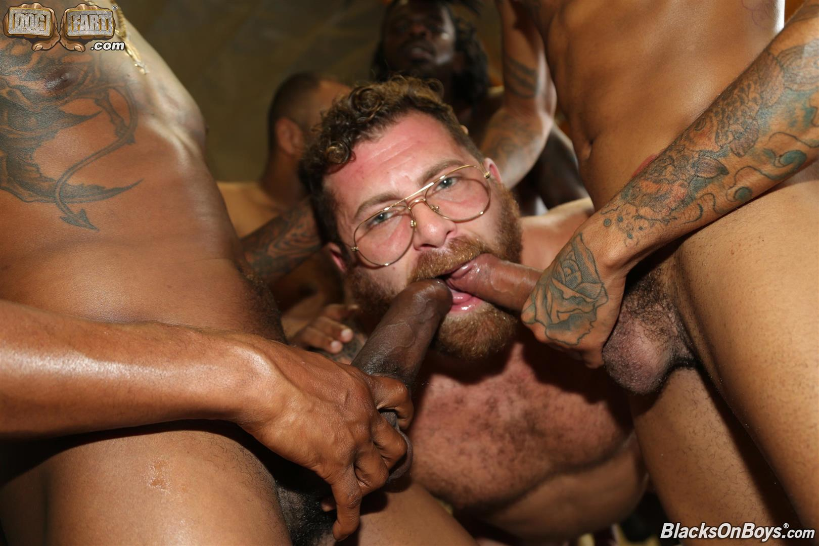 Blacks-On-Boys-Riley-Mitchel-Fame-Knockout-Leon-Redd-Ray-Diesel-Big-Black-Cock-17 Hairy Muscle Daddy Riley Mitchel Takes Four Big Black Cocks Up The Ass