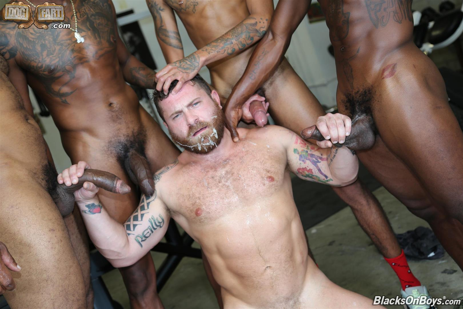 Blacks-On-Boys-Riley-Mitchel-Fame-Knockout-Leon-Redd-Ray-Diesel-Big-Black-Cock-28 Hairy Muscle Daddy Riley Mitchel Takes Four Big Black Cocks Up The Ass